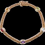 """Vintage 14k Gold Colorful Gemstone Bracelet ~ 7"""""""