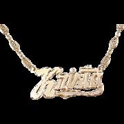 """Vintage 14k Gold KRISTA Nameplate Necklace ~ 17"""""""