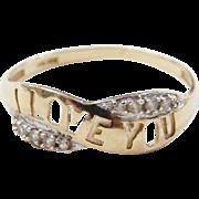 Vintage 10k Gold Two-Tone Diamond I Love You Ring