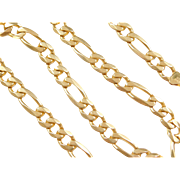 "Vintage 14k Gold Men's Figaro Link Chain  ~ 18"" ~ 51.3 Grams"