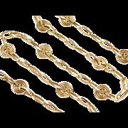 """Vintage 14k Gold Long Funky Link Necklace ~ 24"""" ~ 13.3 Grams"""