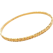 "Vintage 22k Baht Gold Diamond Cut Bangle Bracelet ~ 7"" Circumference"