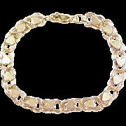 """Vintage 14k Gold Heart Bracelet ~ 7 1/4"""""""