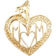 Vintage 14k Gold #1 MOM Heart Pendant