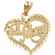 Vintage 14k Gold MOM Heart Charm / Pendant