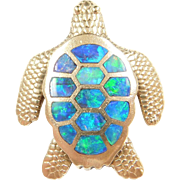 Vintage 14k Gold Opal Inlay Turtle Pendant