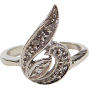 Vintage 14k White Gold Diamond Swirl Ring