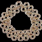 "Vintage 14k Gold WIDE Citrine and Peridot Bracelet ~ 7 1/2"" ~ 12.5 Grams"