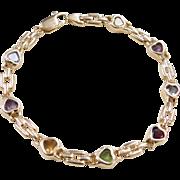 """Vintage 14k Gold Colorful Gemstone Heart Bracelet ~ 7 1/2"""""""
