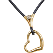 Vintage 18k Gold Heart Necklace ~ 18""