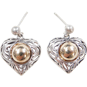 Vintage Sterling Silver and 14k Gold Heart Earrings