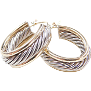 Vintage Sterling Silver and 14k Gold Twisted Hoop Earrings
