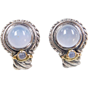 Vintage Sterling Silver and 14k Gold Chalcedony Earrings