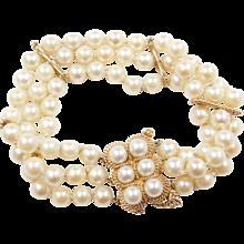 """Vintage 14k Gold Cultured Pearl Multi-Strand Bracelet 8"""""""