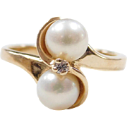 Vintage 14k Gold Cultured Pearl and Diamond Ring