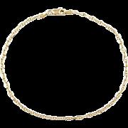 """Vintage 14k Gold Marine Anchor Link Anklet 10 1/4"""""""