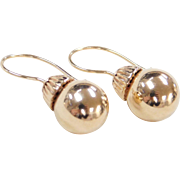 Vintage 14k Gold Ball Drop Earrings
