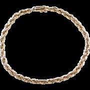 "Vintage 14k Gold Diamond Cut Rope Bracelet ~ 8 1/2"""