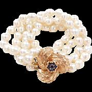 "Vintage 14k Gold Cultured Pearl and Sapphire Bracelet ~ 7"""