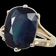 Vintage 14k Gold 7.31 Carat Natural Sapphire Ring