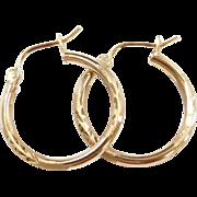 Vintage 10k Gold Diamond Cut Hoop Earrings