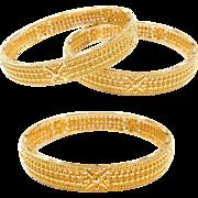 "Vintage 22k Baht Gold Bead Bangle Bracelet ~ 7"""