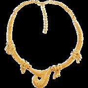 "Vintage 22k Baht Gold Ornate Red and Green Enamel Necklace ~ 14"" - 16 1/2"""