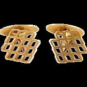Vintage 18k Gold Honeycomb Cufflinks