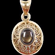 Vintage 14k Gold Ornate Swirl Corundum Pendant
