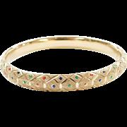 Vintage 10k Gold Colorful Enamel Dot Hinged Bangle Bracelet