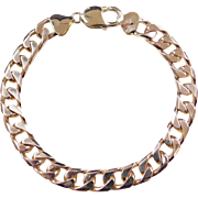 """Vintage 14k Gold Heavy Gents Curb Link Chain ~ 8 1/2"""" ~ 22.9 Grams"""