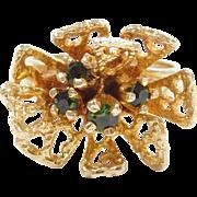 Vintage 14k Gold Green Tourmaline Ring