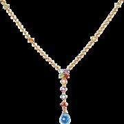 """Vintage 10k Gold Colorful Gemstone Necklace ~ 17 1/4"""""""