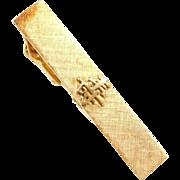 Vintage 14k Gold Chinese / Japanese Kanji Tie Clip