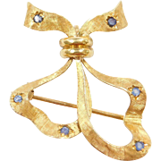 Vintage 18k Gold Sapphire Bow Ribbon Pendant / Pin