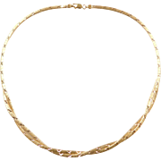 """Vintage 14k Gold Reversible Necklace ~ 16 1/2"""""""