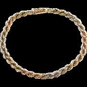 """Vintage 14k Gold Tri-Color Rope Bracelet ~ 8"""""""
