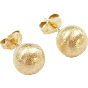Vintage 14k Gold Brushed Texture Ball Stud Earrings
