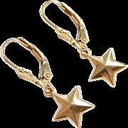 Vintage 14k Gold Star Lever Back Earrings