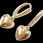 Vintage 14k Gold Heart Earrings