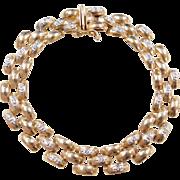 "Vintage 14k Gold Two-Tone Diamond Panther Link Bracelet ~ 6 7/8"""