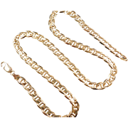 "Vintage 14k Gold Gents Flat Marine Anchor Link Chain ~ 22"" ~ 39.8 Grams"