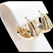 Vintage 14k Gold Wide Hoop Earrings