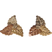 Vintage 14k Gold Tri-Color Leaf Stud Earrings