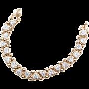 "Vintage 10k Gold Two-Tone Diamond Heart Bracelet ~ 7"""