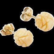 Vintage 14k Gold Carved Resin Stud Earrings