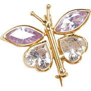 Vintage 14k Gold Butterfly Pin / Brooch ~ Purple Ice and Faux Diamond