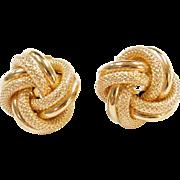 Vintage 14k Gold Big Love Knot Stud Earrings
