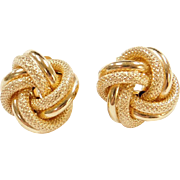 Vintage 14k Gold Big Love Knot Stud Earrings