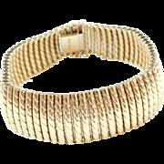 """Vintage 18k Gold Wide Bracelet 7"""" ~ 48.9 Grams"""